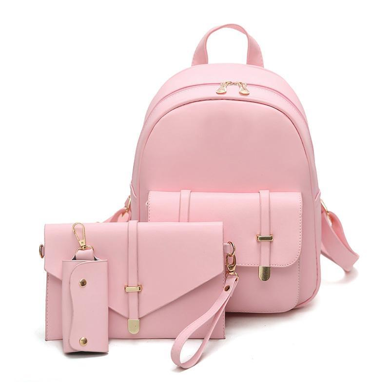 abb5d1df0980 Korean PU college style fashionable ladies backpack 3 PCS PU Leather Women  Backpacks Students Schoolbags