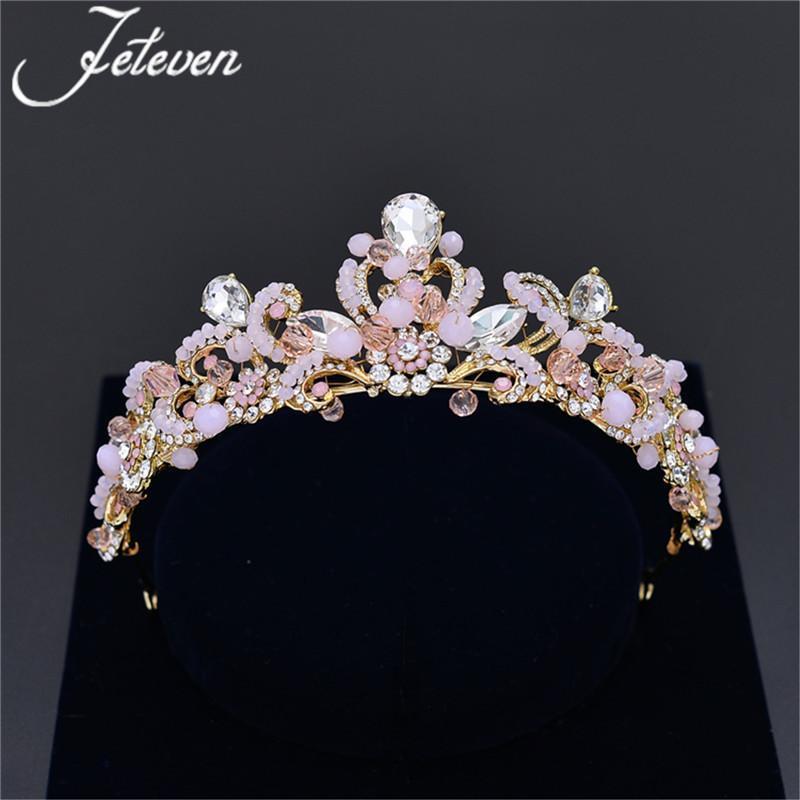 126d06141d Handmade Wedding Bridal Tiara Rhinestone Crystal Crown Pageant Prom  Headband Pink