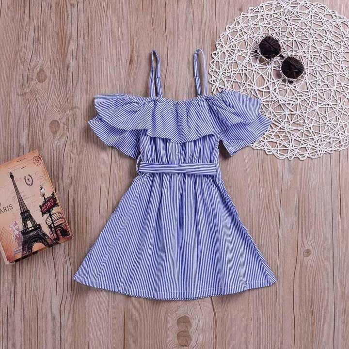 Children Girls Striped Print Bowknot Ruffles Off Shoulder Princess Dress Clothes