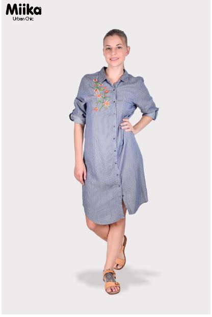 Miika Women Embroidered Chambray Shirt Dress
