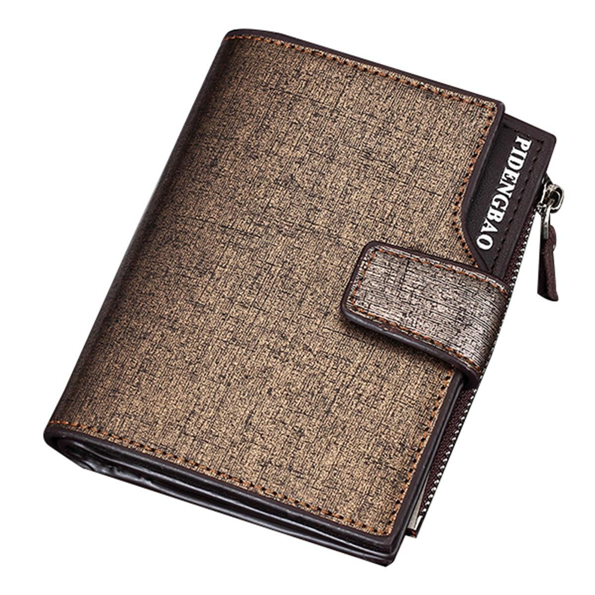 14 Card Slots Men PU Leather Wallet Casual Business Tri-fold Wallet Card Holder