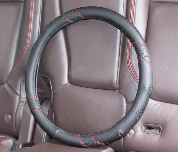 Leather steering wheel cover - Black