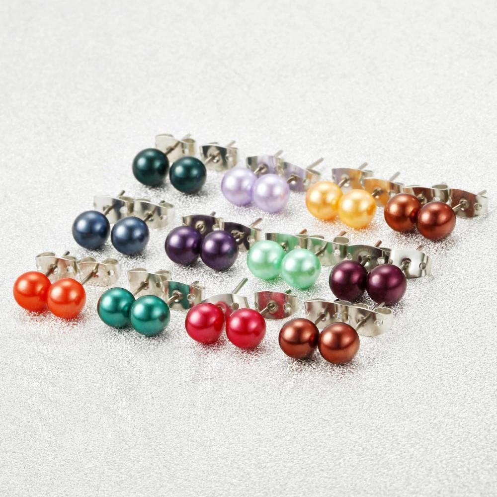 289e404c7 36 Pairs Sets Round Ball Stud Earrings Colorful Simulated Pearl Earrings  For Women Hot-selling
