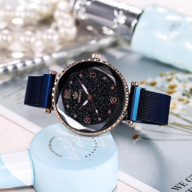 e69831a31 Hot top brand watches for woman rose gold mesh magnet buckle starry quartz  watch geometric surface