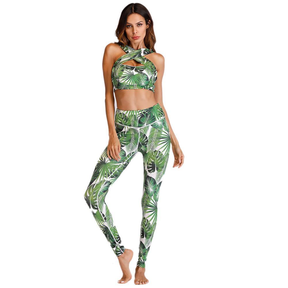 44e4d798655 ALLOYSEED 2pcs Women Yoga Gym Fitness Set Floral Print Cross Bra Pants  Sport Suits