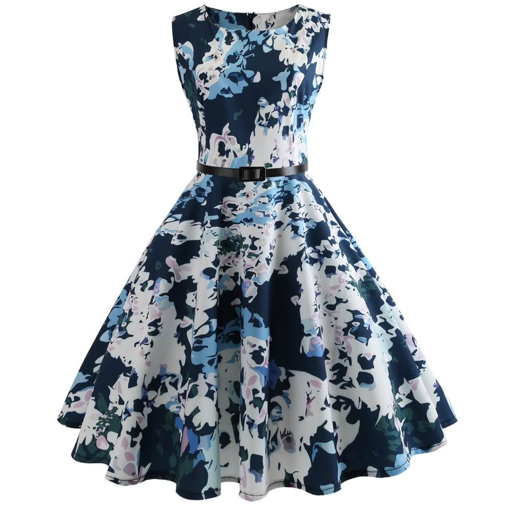 Happydeal Women Vintage Printing Bodycon Sleeveless Casual Evening Party Prom Swing Dress