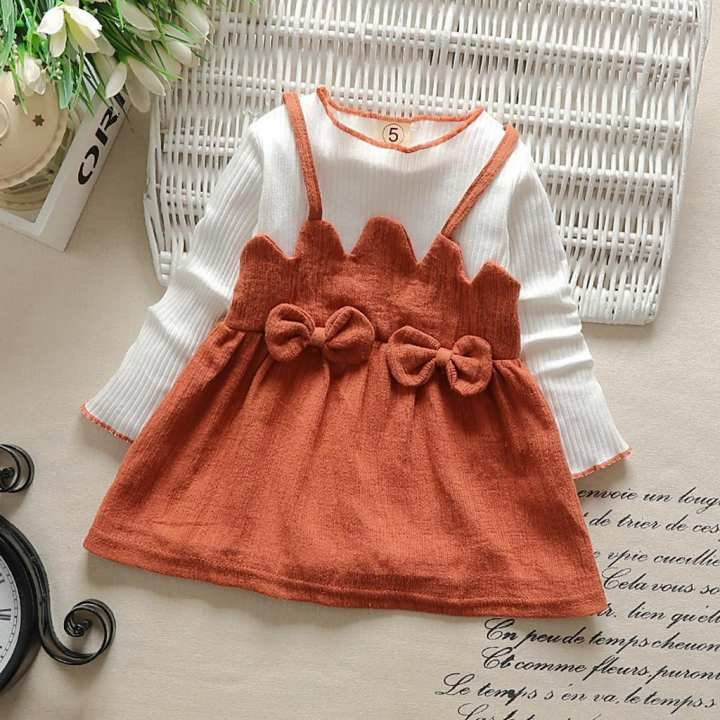 Toddler Kid Baby Girl Long Sleeve Bow Patchwork Party Princess Dress Tops