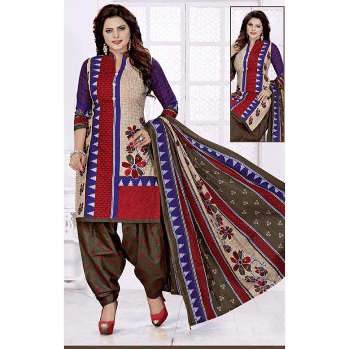 Unstitch Full Cotton Salwar Material - Multi