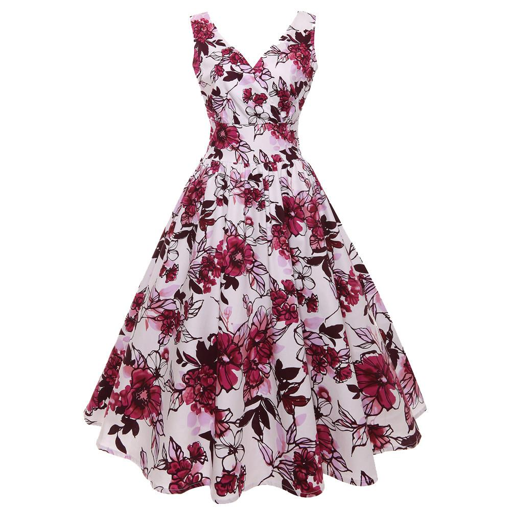 Happydeal Women V Neck Floral Print Vintage Gown Sleeveless Party Prom Swing Dress