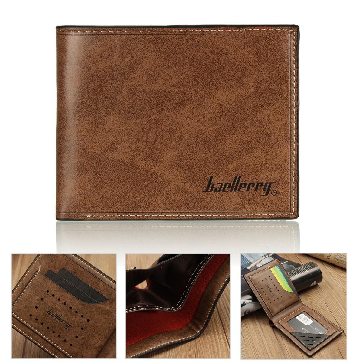 Fashion Mens PU Leather Bifold Wallet Credit/ID Card Holder Slim Coin Purse Pocket Dark