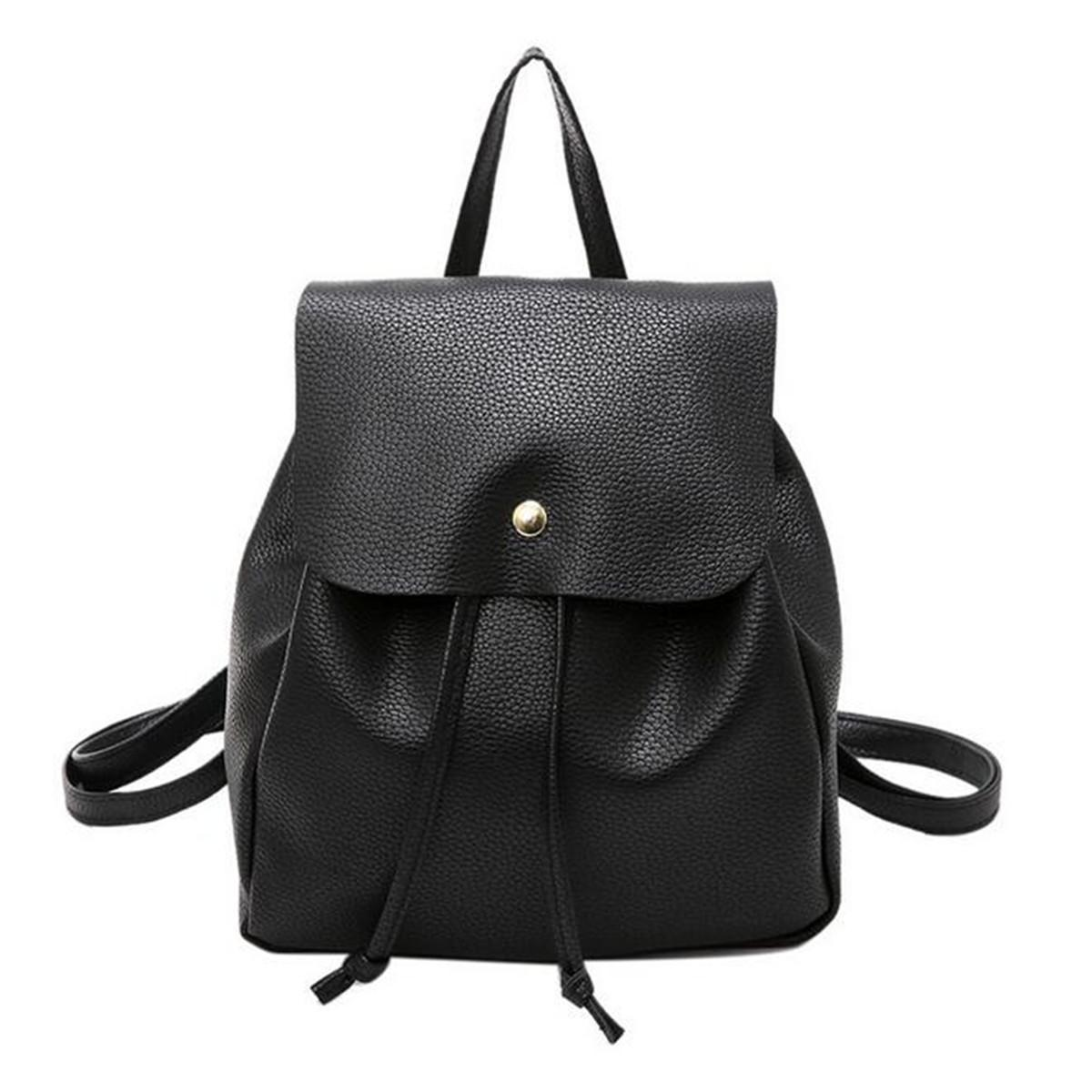 Women PU Leather Girl Backpack Travel Handbag Rucksack Shoulder School Bag  Tote  black 6fe84311a2