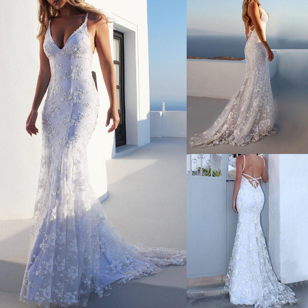 Happydeal Women Fashion Lace Backless Deep V Neck Sleeveless Long Dress