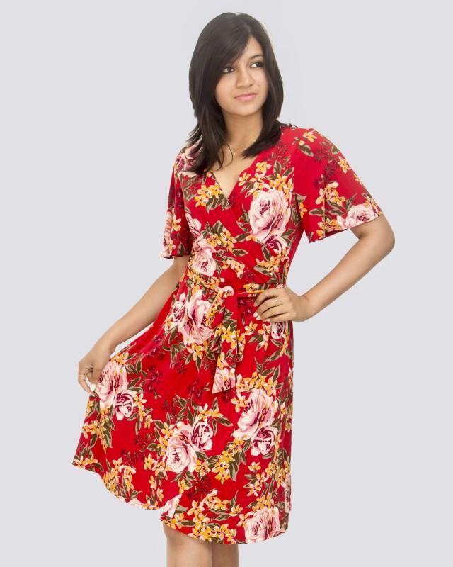 Floral Printed  Short Sleeve Red Wrap Dress