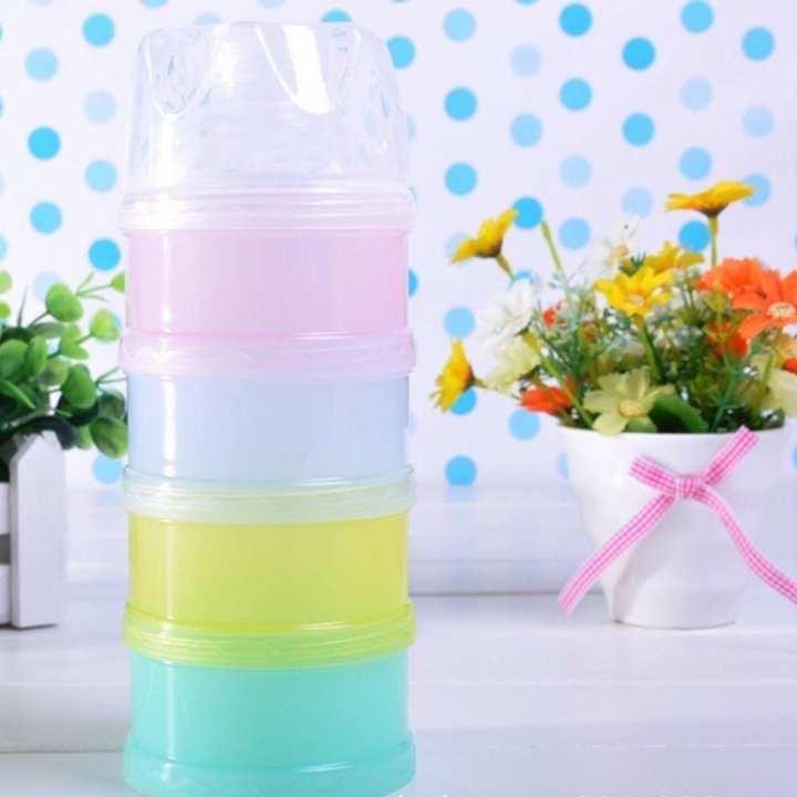 4 Layers Milk Powder Formula Dispenser Travel Kids Baby Infant Feeding Container