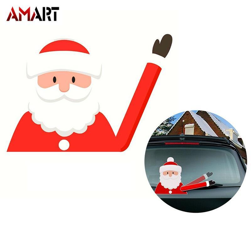Merry Christmas Car Stickers Wiper Santa Claus Snowman Elk Window Decals Decor