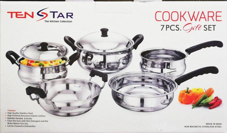 7Pcs - Stainless Steel Cookware Set  - Multi