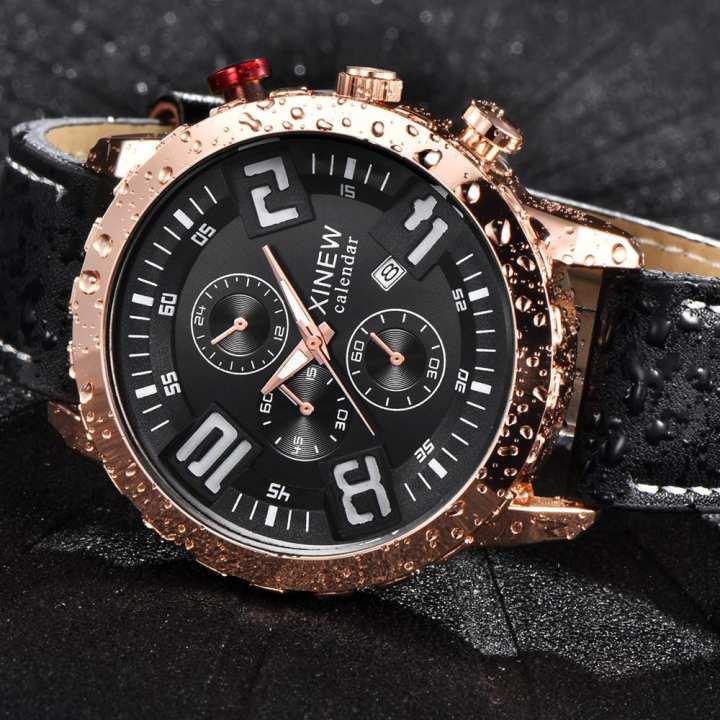 FashionieStore Men's wristwatch Mens Quartz Wrist Watch Analog Date Day Army Sport Black Leather Luxury