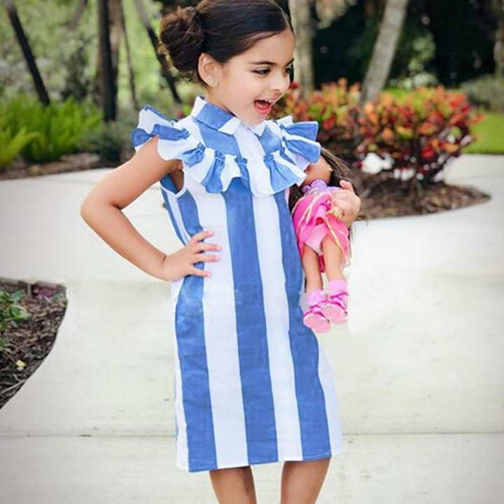 Fashion Girls Dress Stripe Lotus Leaf Edge  Cotton Sleeveless Children Dress