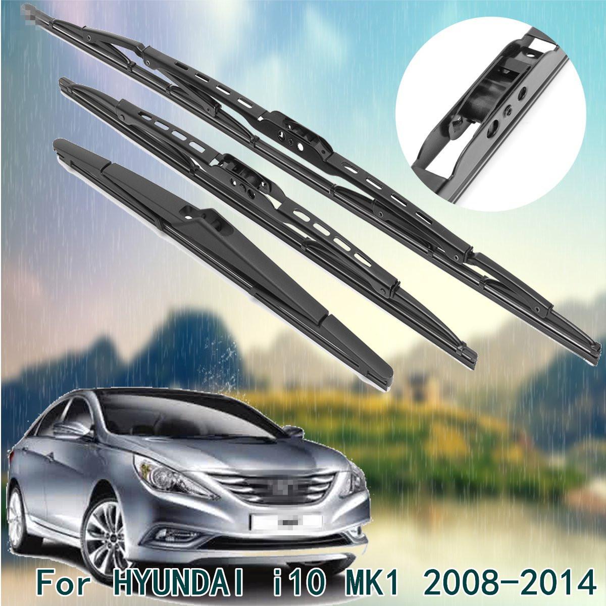 For Hyundai I10 Mk1 08 14 Front Rear Windscreen Wiper Blades X3 Complete Set Black Buy Sell Online Best Prices In Srilanka Daraz Lk