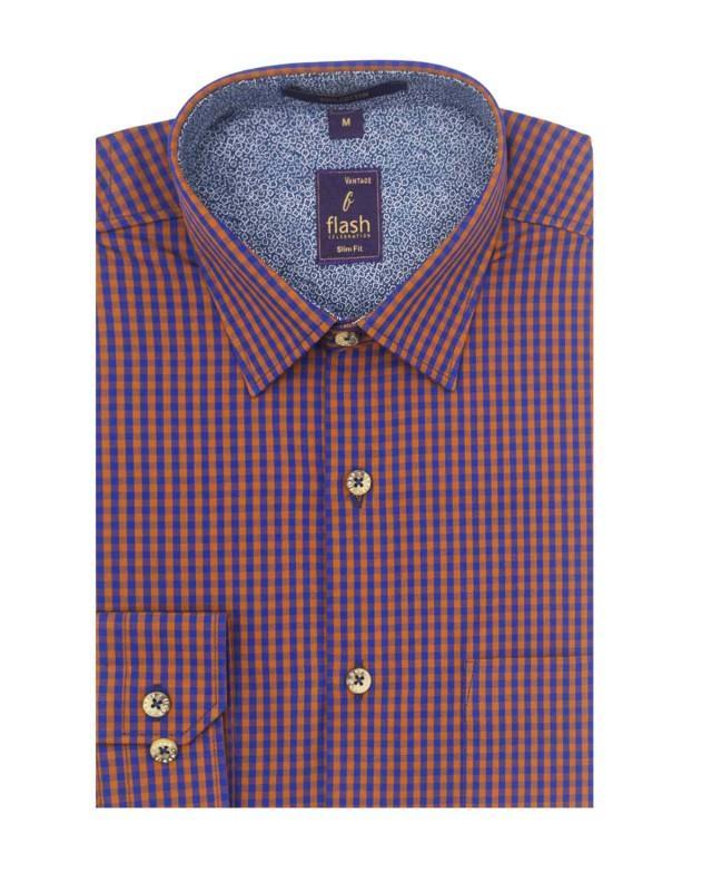 Flash Casual Men's Long Sleeves Orange and Blue Shirt