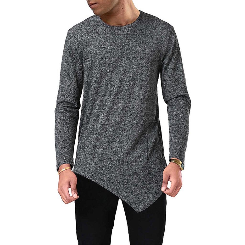 2019 Men's New Model Long-Sleeved T-Shirt With Solid Round Collar Irregular Hem Top