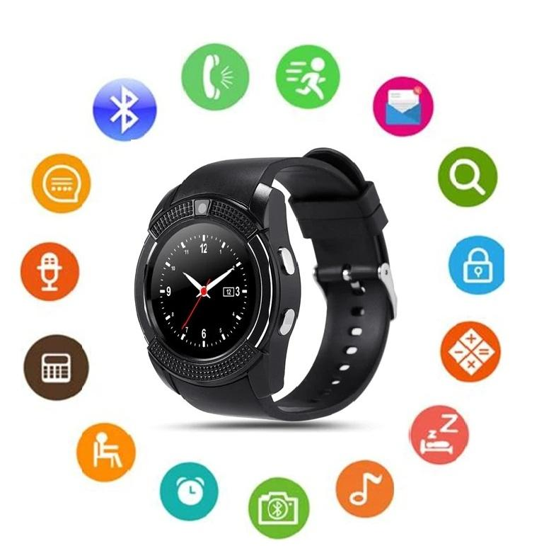 V8 Bluetooth Smart Watch Round Screen with SIM / TF Card Clock Camera for  Android iOS Phone