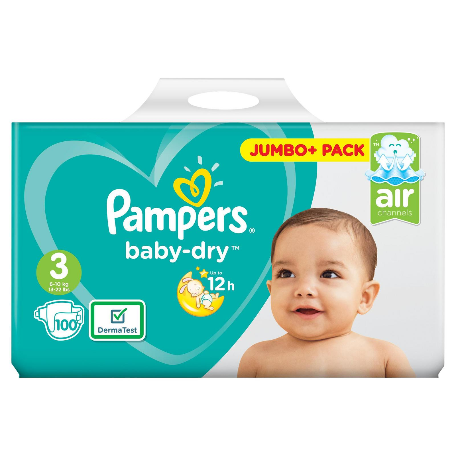 Pack 100 Nappies Pampers Baby Dry Size 3 Jumbo