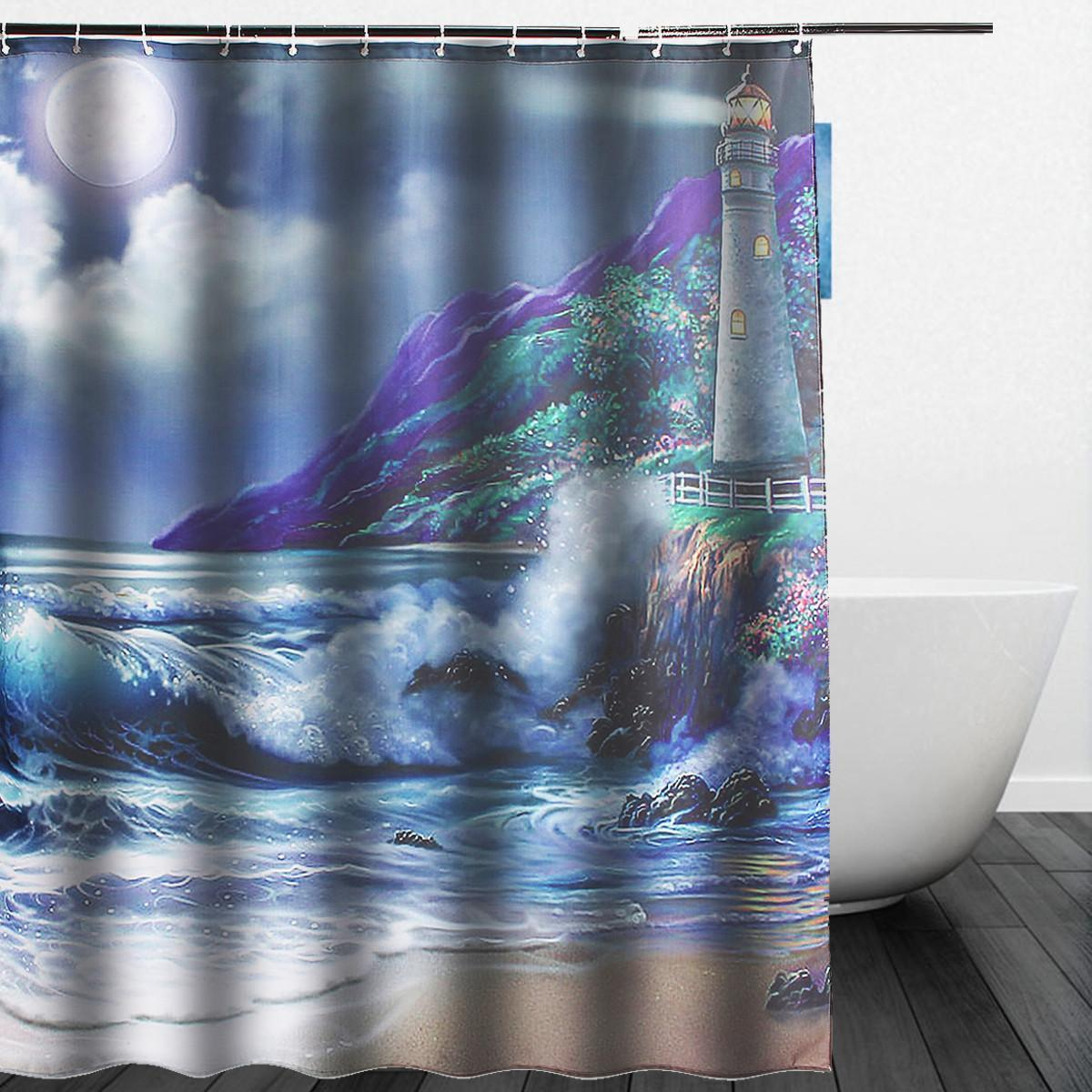 Hot New Custom Lighthouse Bathroom Fabric Waterproof Shower Curtain 60x72 Inch