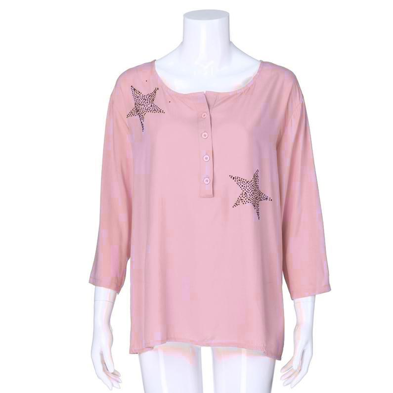 Women's Clothing Provided Women Button Five-pointed Star Hot Drill Plus Size Tops Blouse
