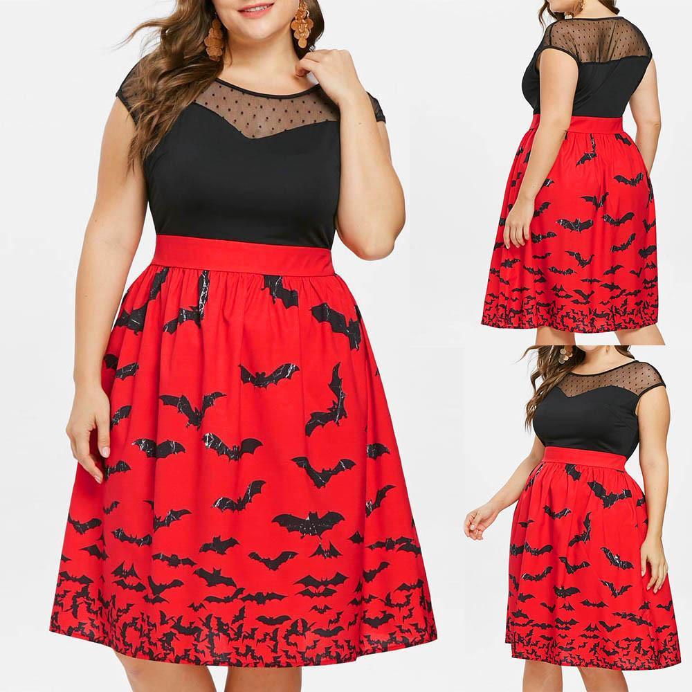 1aabca4d1ca81 FashionieStore Women Halloween Party Bat Print Retro Lace Sleeveless Vintage  Swing Dresses