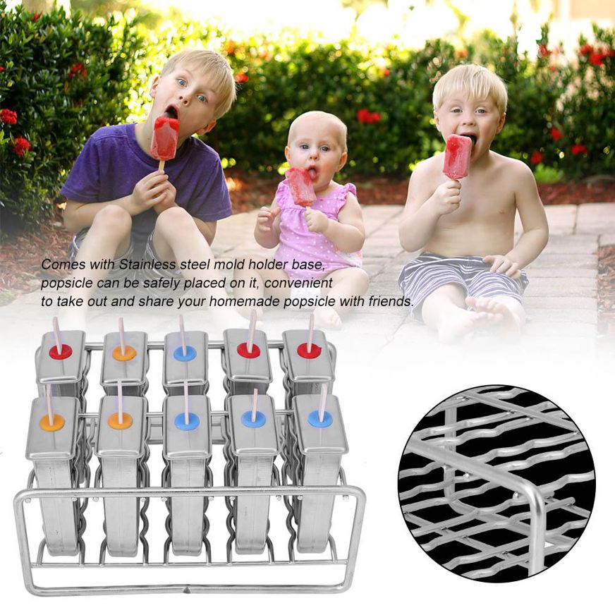 10 Molds Stainless Steel Ice Lolly Cream Moulds Pop Mould Lolly Popsicle with 100Pcs Stick Holder Popsicle Maker Set for Kids Adults DIY Set Round head