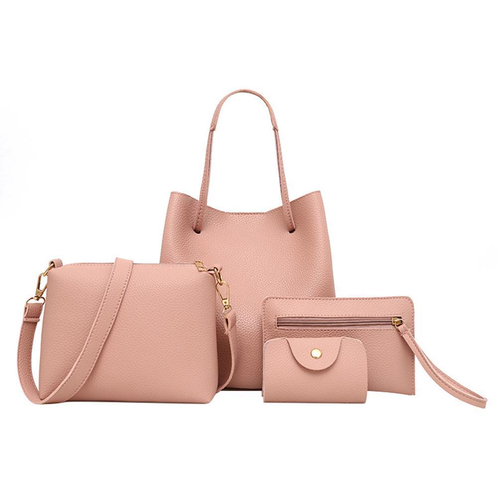 7f30ff11a09 uebfashion 4pcs Set Women Bag Fashion Solid PU Single Shoulder Messenger  Bags