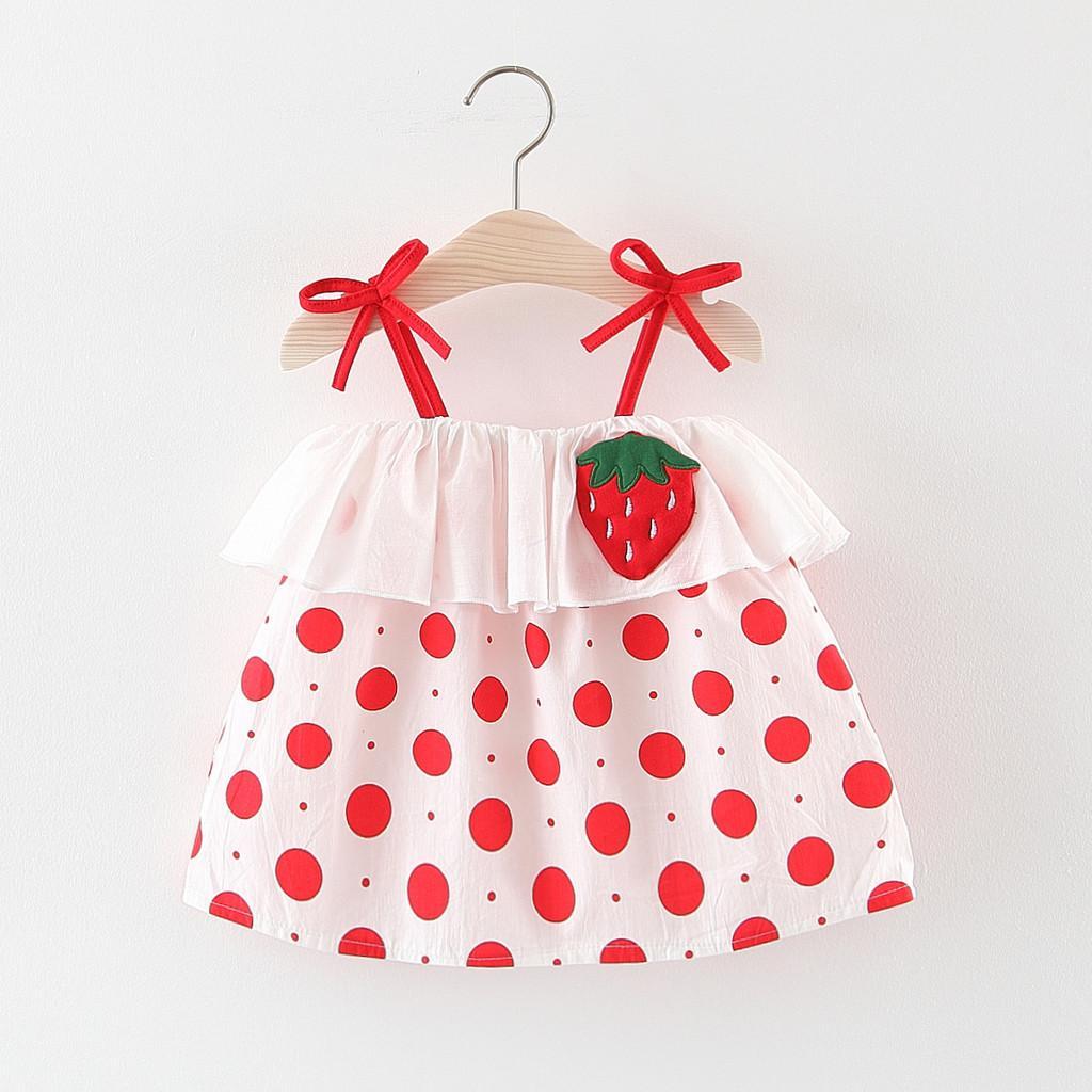 3d49b1195cbb2 (12M-3Y) 2019 Adorable Toddler Baby Kids Girls Dot Ruffles Strap Print  Dress Princess Dresses Clothes
