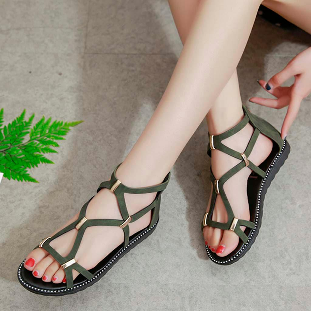 b2a02a877b6a2 Happydeal Women's Comfortable Sandals Solid Color Hollow Flat Sandals  Casual Wild Shoes