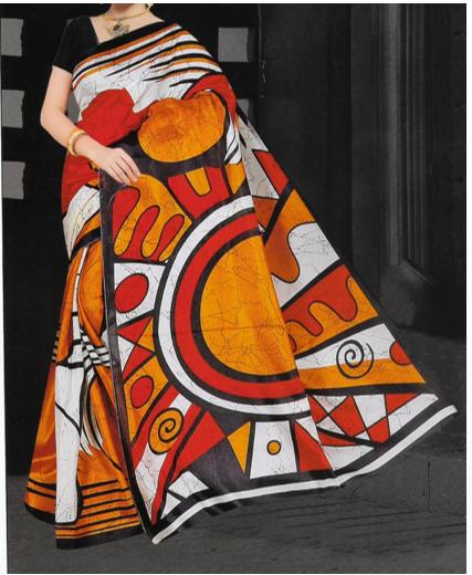 Lady Love Ladies' Cotton/Silk Saree Orange & Red with Blouse Material