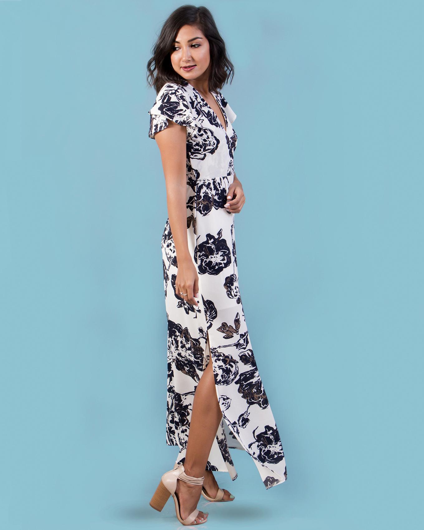 Lemonloco Overlap Maxi Dress with Side Slit