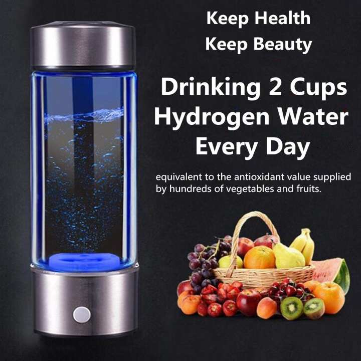450ml Portable H Rich Water Maker Ionizer Generator Water Cup Bottle USB Filter
