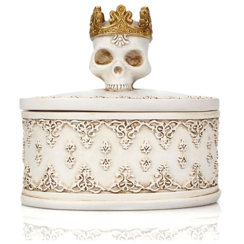 Gothic Retro Mini Storage Box Skull Crown Jewelry Organizer Desktop Decoration