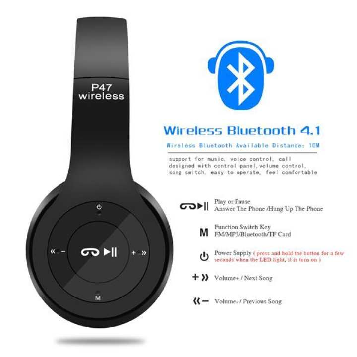 Wireless Headphones, P47 Bluetooth Over Ear Foldable Headset with Microphone Stereo Earphones 3.5mm Audio Support FM Radio TF for PC TV Smart Phones & Tablets etc (Black)