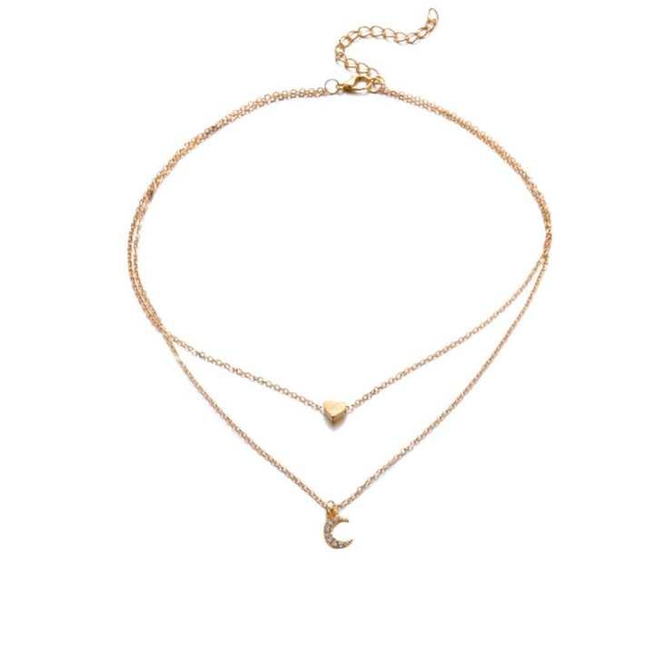 FashionieStore Women's Moon Star Pendant Choker Necklace Gold Silver Long Chain Jewelry Simple