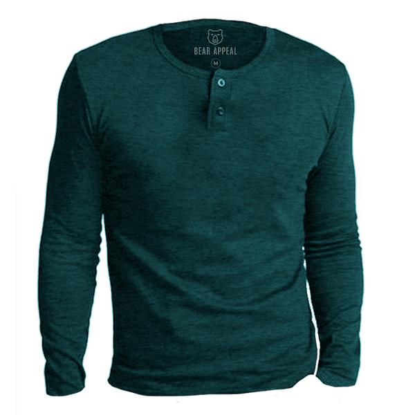 Bear Appeal Sea Green Long Sleeve Henley T-Shirt
