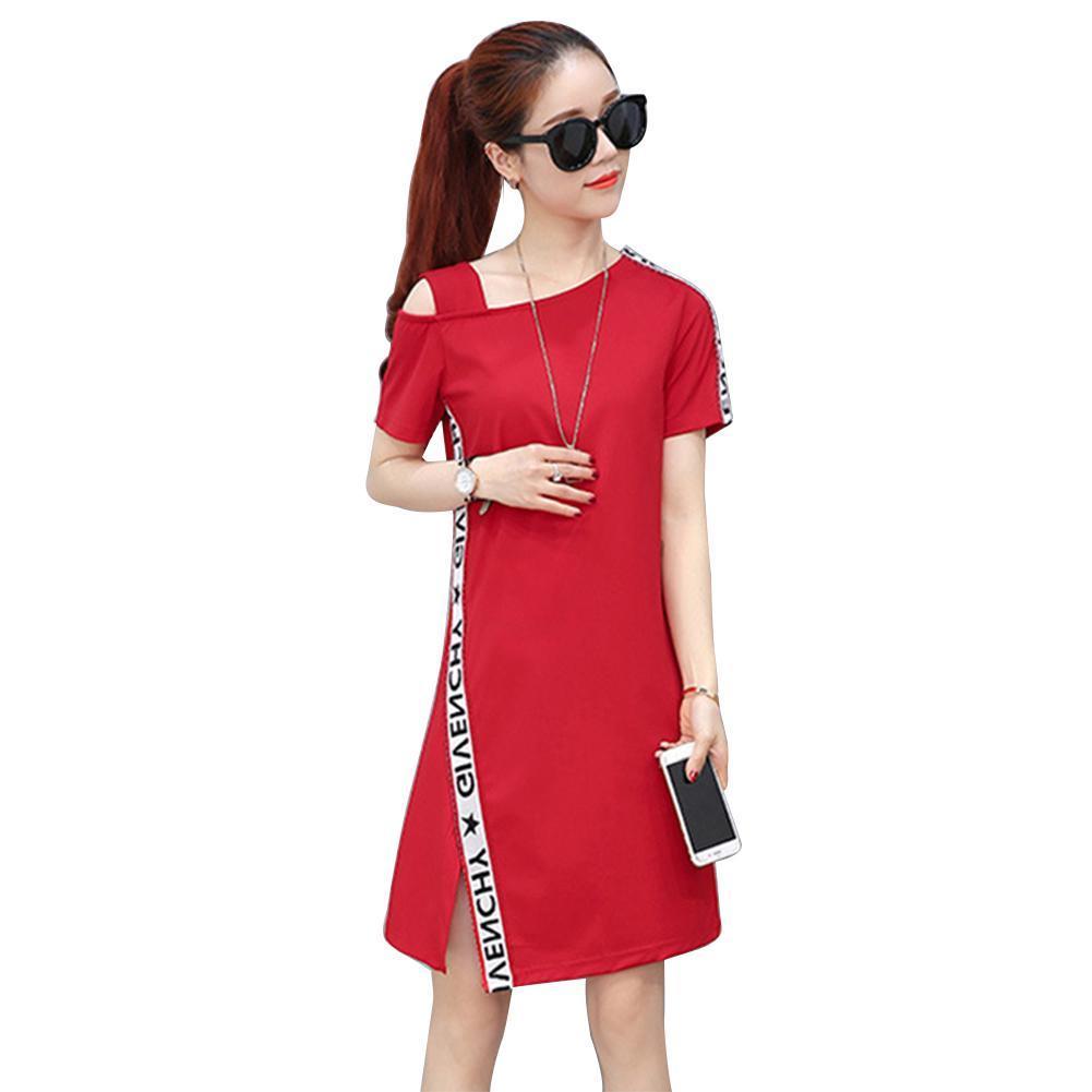 591fda535b178 Women Summer Letter Printed T-Shirt Dress Short Sleeve A-line Slim Dresses