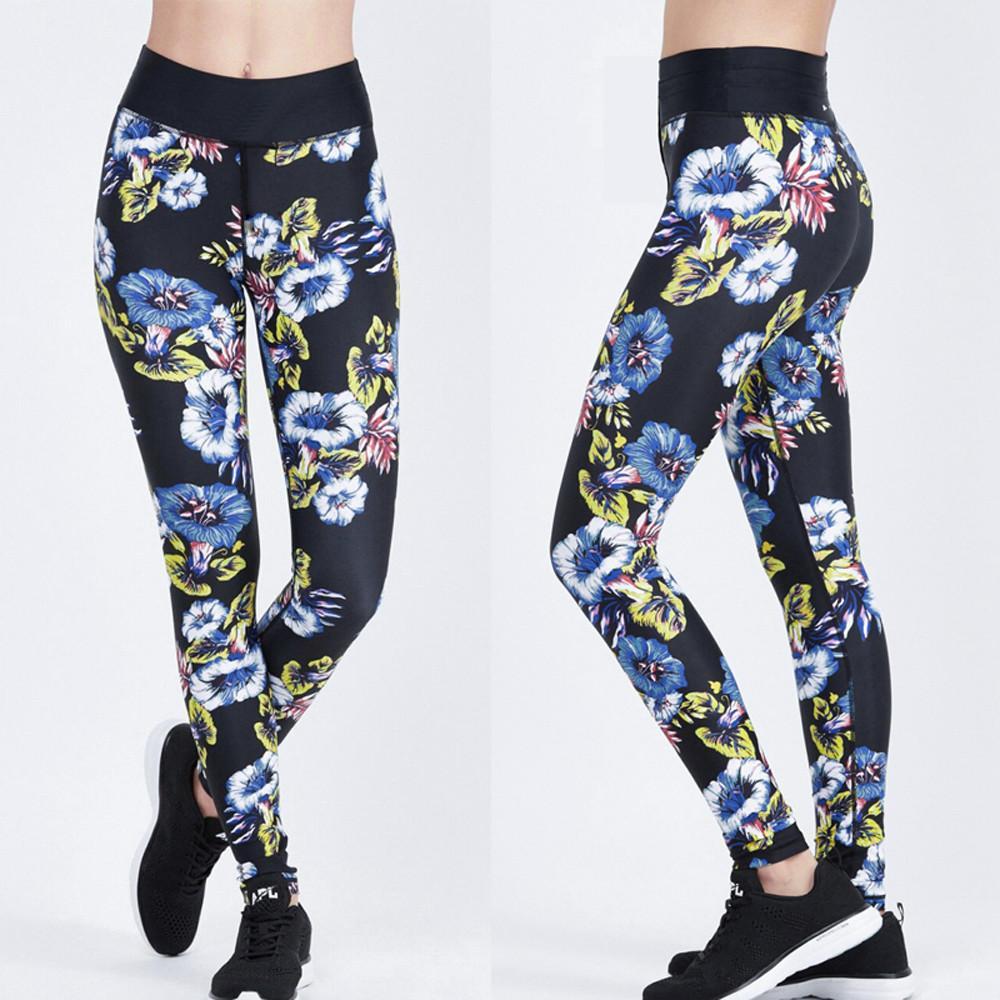 8481649a667 Women High Waist Sport Gym Yoga Floral Printed Legging Pants Athletic  Trouser