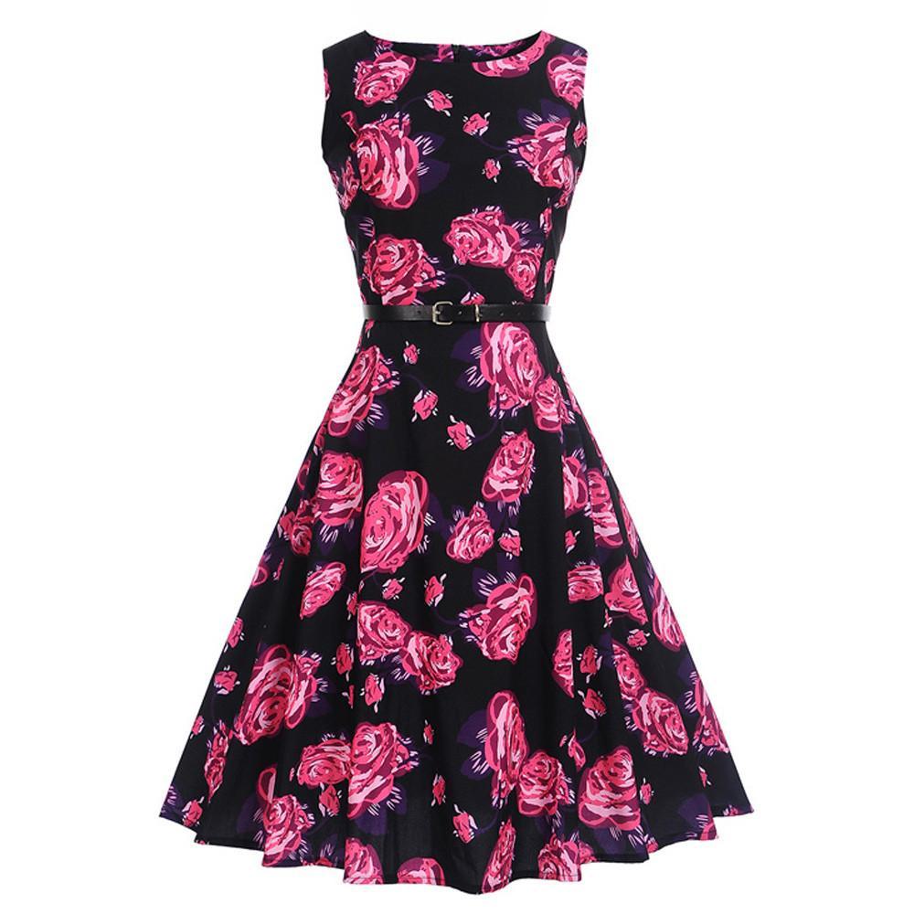 Happydeal Women Vintage Printing Bodycon Sleeveless Halter Evening Party Prom Swing Dress