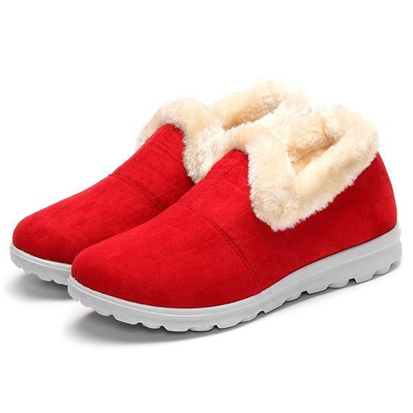 a65ebfed2 Fashion Snow Boots Women Winter Fur Lining Keep Warm Cotton Outdoor Flat  Shoes
