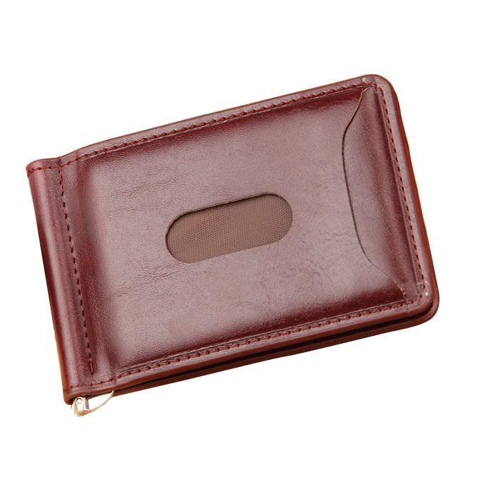 Minimalist PU Leather Slim Bifold Wallet with Money Clip for Men