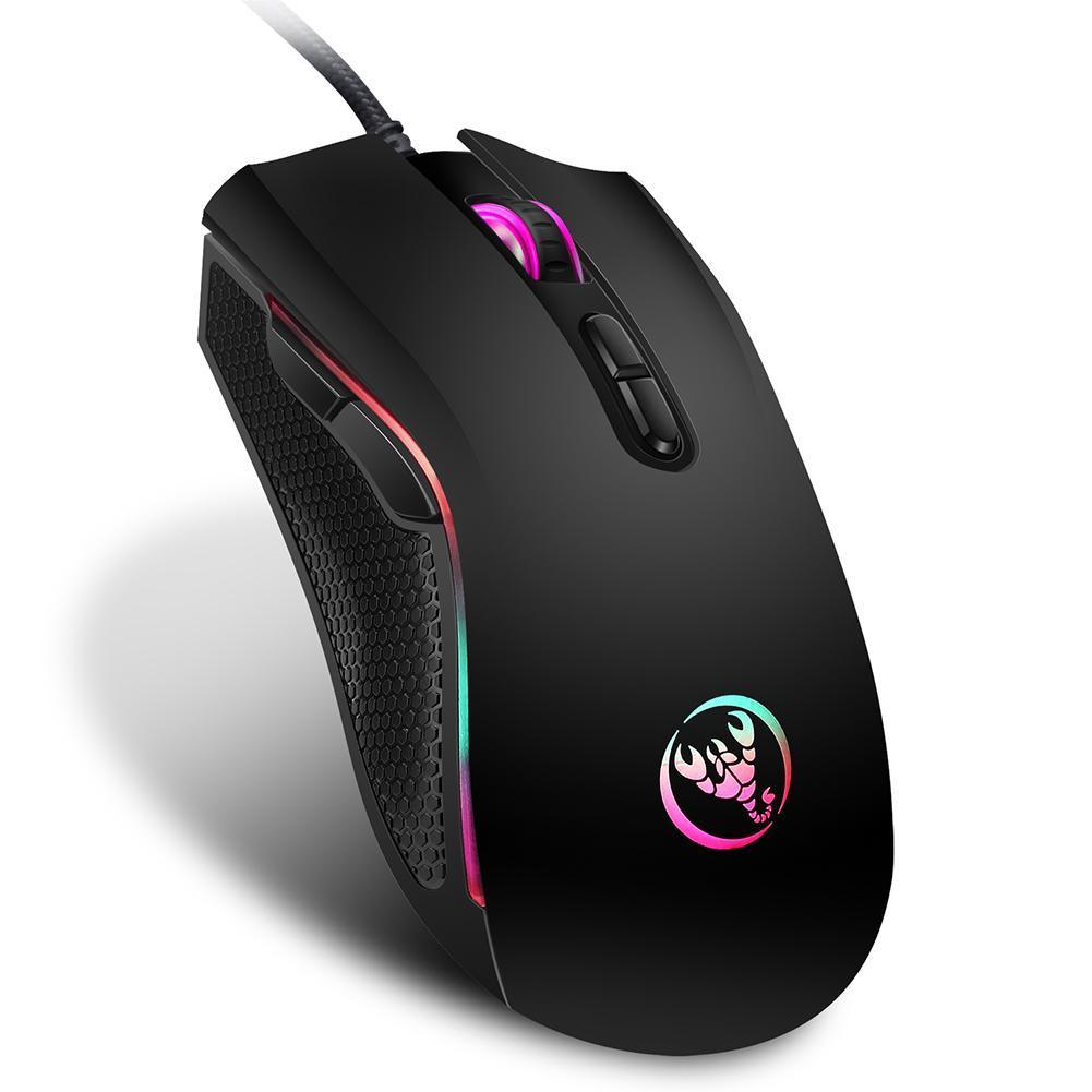f1a57c5eaab uebfashion HXSJ A869 USB Wired Colorful Gaming Mouse 3200DPI 7Keys Optical  Mice (Black