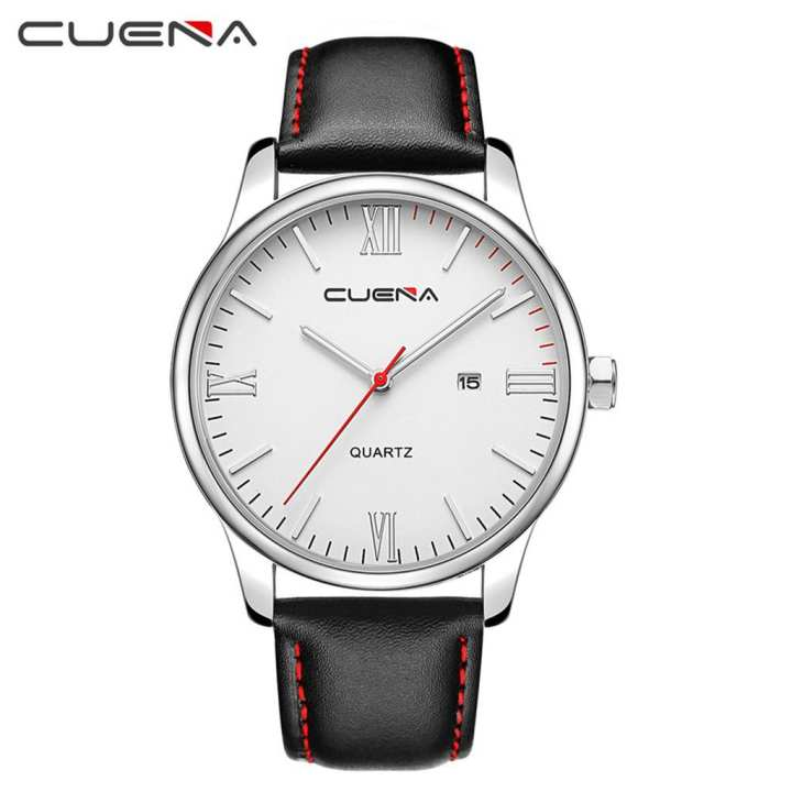 Men's wristwatch Luxury Fashion Faux Leather Mens Blue Ray Glass Quartz Analog Watches With Calen