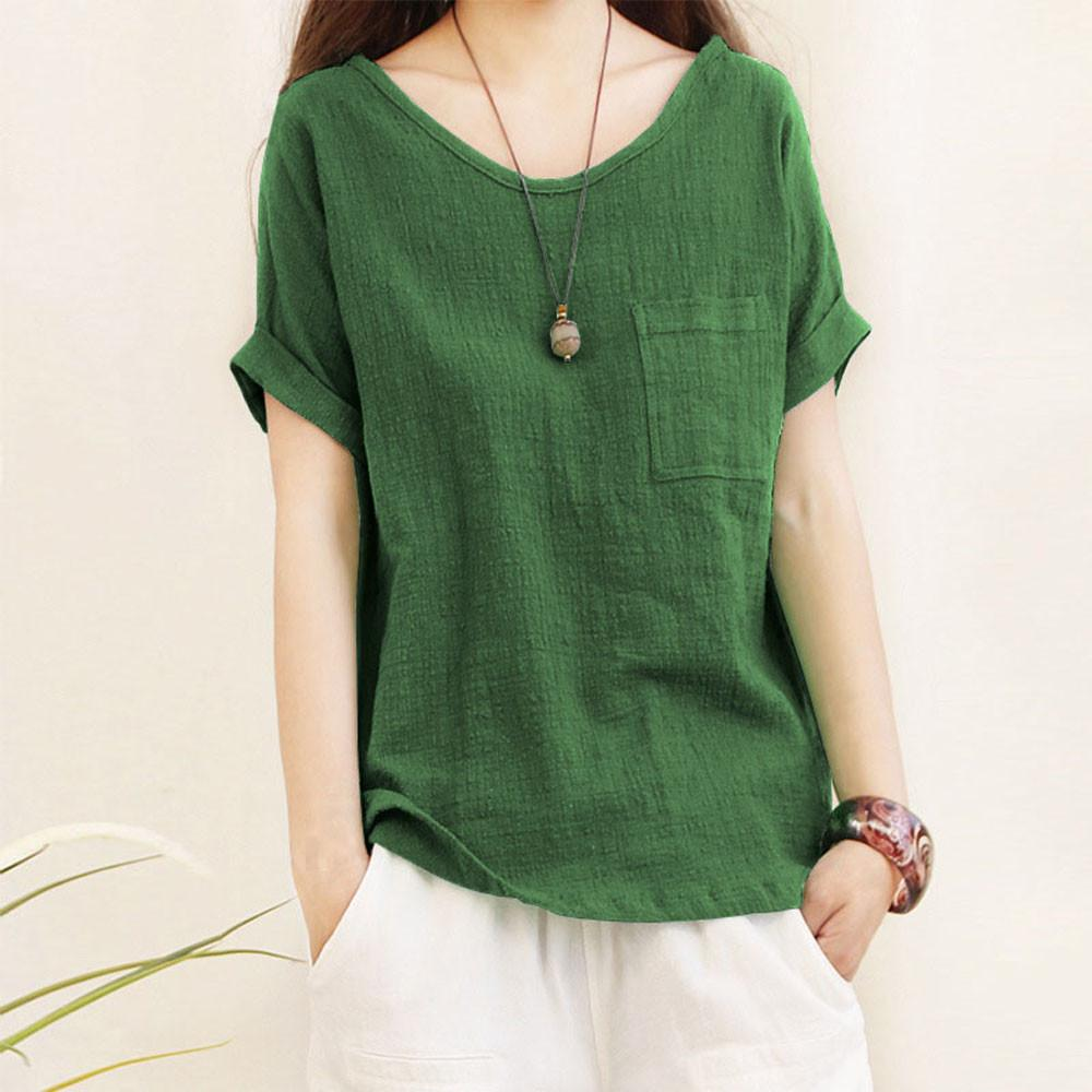 e863597834 10241 items found in Clothing. Women Ladies Short Sleeve Pocket Cotton and  linen T-shirts Top Blouse