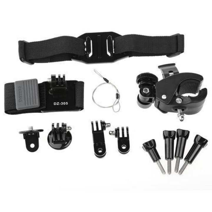 KT-106 Universal Action Camera Riding Cycling Accessory Kit With Storage Bag / Head Wrist Strip Bike Handlebar Holder Bracket - Black
